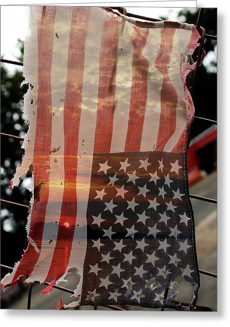 Political Decay Greeting Cards - Flag Greeting Card by Jacob Leff