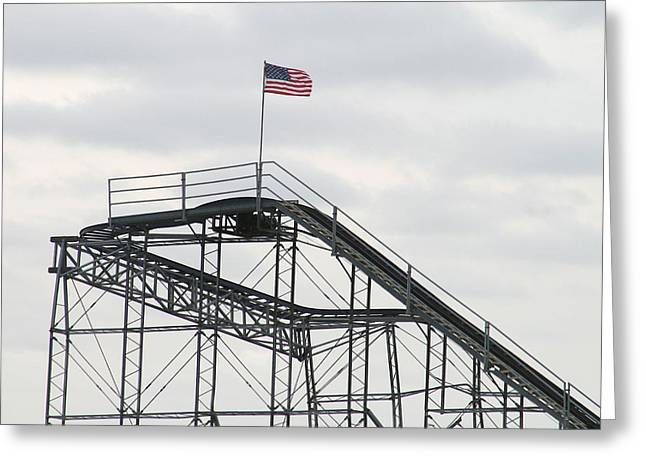 Jetstar Photographs Greeting Cards - Flag mounted on Seaside Heights Roller Coaster Greeting Card by Melinda Saminski