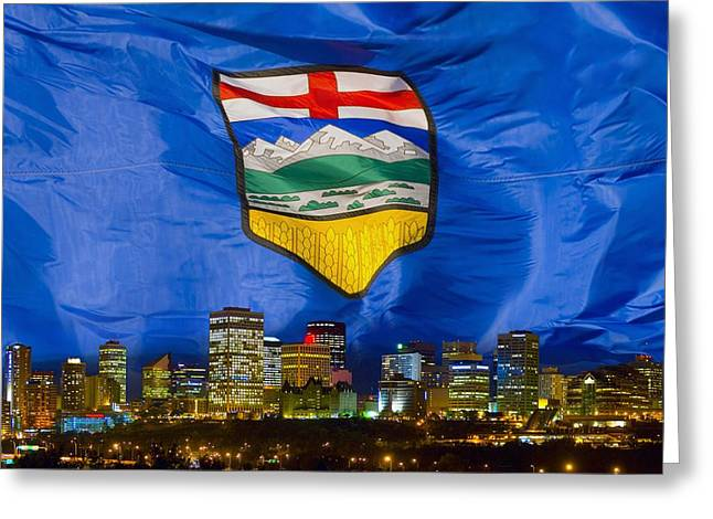 Maps Globes And Flags Greeting Cards - Flag Of Alberta Over Edmonton Greeting Card by Corey Hochachka