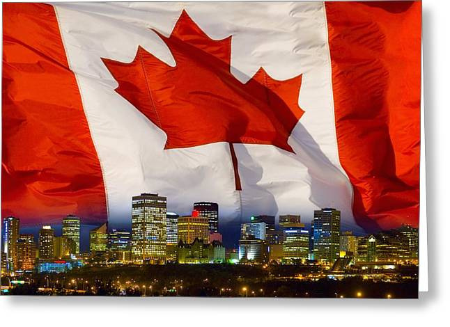 Maps Globes And Flags Greeting Cards - Flag Of Canada Over Albertas Capital Greeting Card by Corey Hochachka