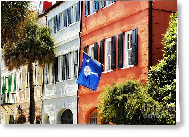 Charleston Greeting Cards - Flag of Charleston With Palmetto and Crescent Moon Greeting Card by George Oze