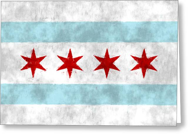 Flag Of Chicago Greeting Card by World Art Prints And Designs