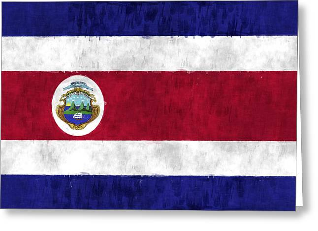 Costa Digital Greeting Cards - Flag of Costa Rica Greeting Card by World Art Prints And Designs