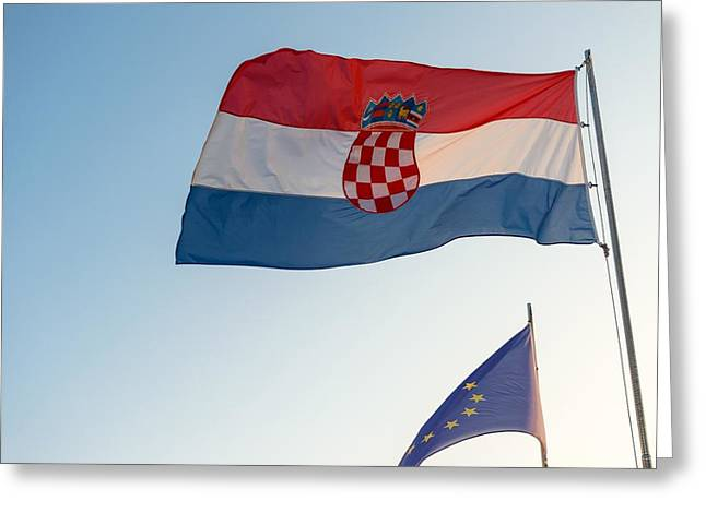 Icons Pyrography Greeting Cards - Flag of Croatia and the european union Greeting Card by Oliver Sved