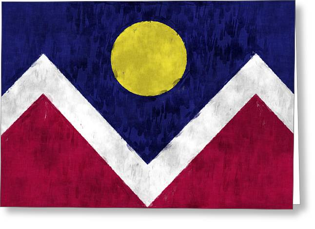 Flag Of Usa Greeting Cards - Flag of Denver Greeting Card by World Art Prints And Designs