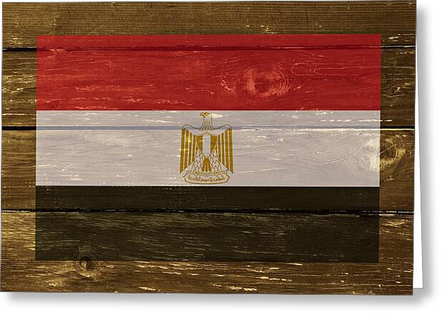 Black Lodge Greeting Cards - Egypt National Flag on Wood Greeting Card by Movie Poster Prints