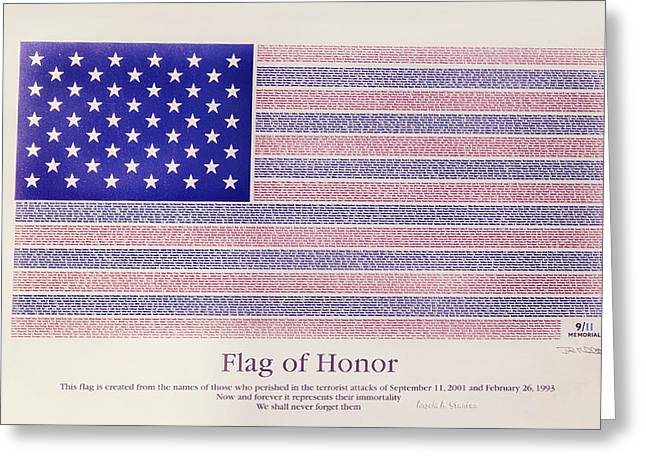 Terrorist Greeting Cards - Flag of Honor at 9 11 Greeting Card by Angela A Stanton
