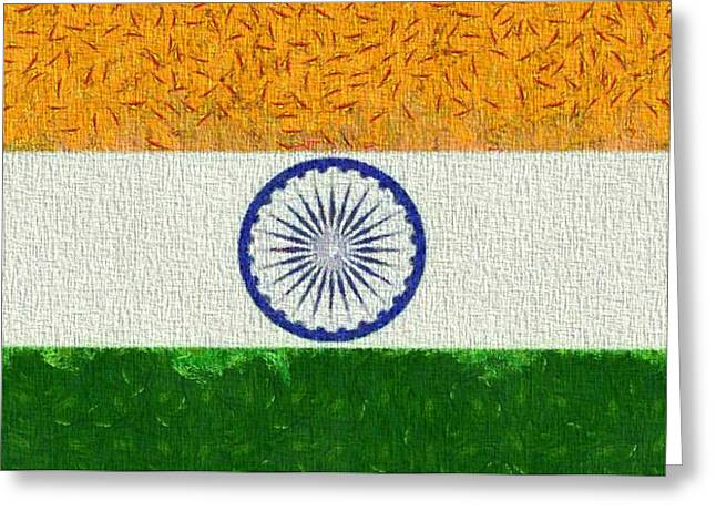 Yellow Chakra Greeting Cards - Flag Of India Greeting Card by Dan Sproul