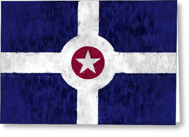 Flag Of Usa Greeting Cards - Flag of Indianapolis Greeting Card by World Art Prints And Designs