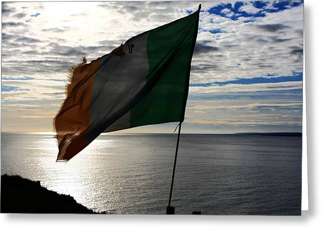 Most Visited Greeting Cards - Flag Of Ireland At The Cliffs Greeting Card by Aidan Moran