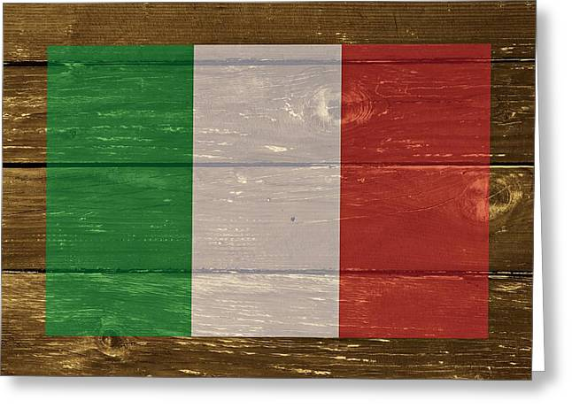 Italian Restaurant Digital Greeting Cards - Italy National Flag on Wood Greeting Card by Movie Poster Prints