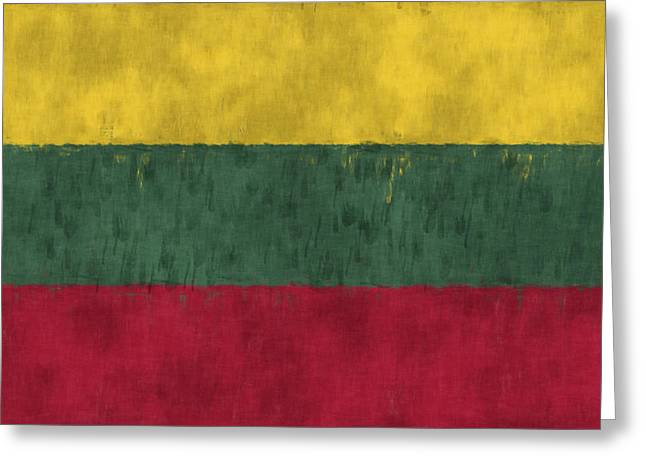 Lithuania Greeting Cards - Flag of Lithuania Greeting Card by World Art Prints And Designs