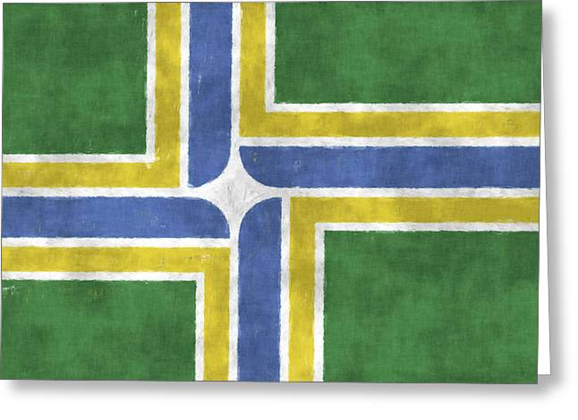 Flag Of Usa Greeting Cards - Flag of Portland Greeting Card by World Art Prints And Designs