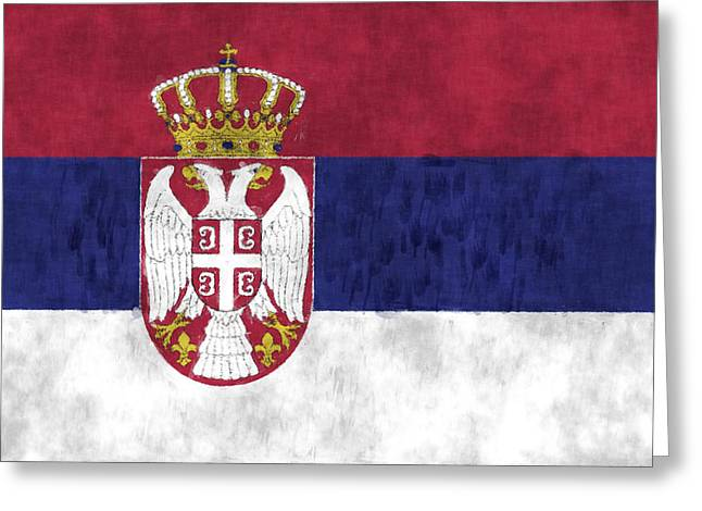 Slavic Greeting Cards - Flag of Serbia Greeting Card by World Art Prints And Designs