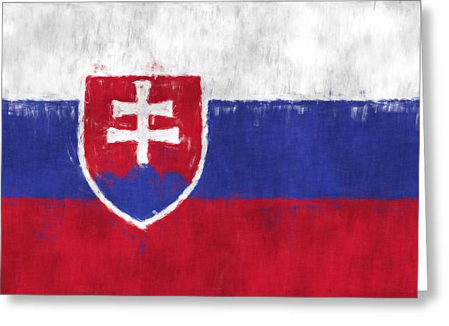Slavic Greeting Cards - Flag of Slovakia Greeting Card by World Art Prints And Designs