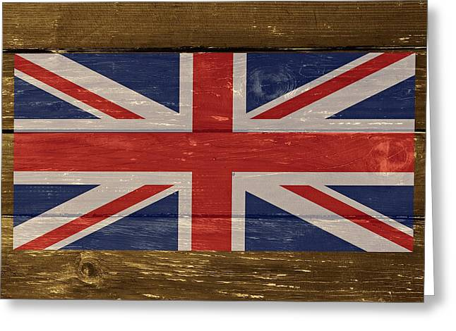 Cabin Wall Greeting Cards - United Kingdom Flag on Wood Greeting Card by Movie Poster Prints
