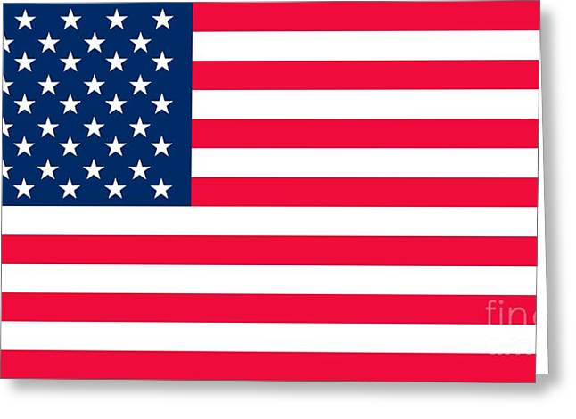 Star Shape Greeting Cards - Flag of the United States of America Greeting Card by Anonymous