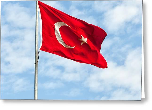 Asian Turkey Greeting Cards - Flag of Turkey Greeting Card by Antony McAulay
