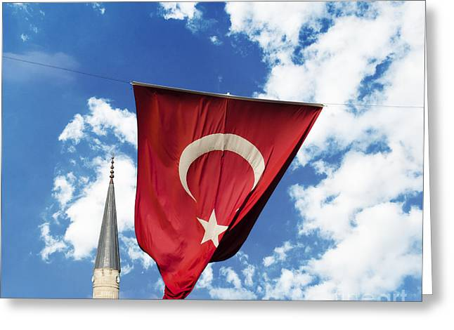 Flags Flying Greeting Cards - Flag of Turkey Greeting Card by Jelena Jovanovic