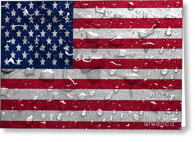 Flag Of Usa Greeting Cards - flag of USA with rain drops Greeting Card by Dan Radi