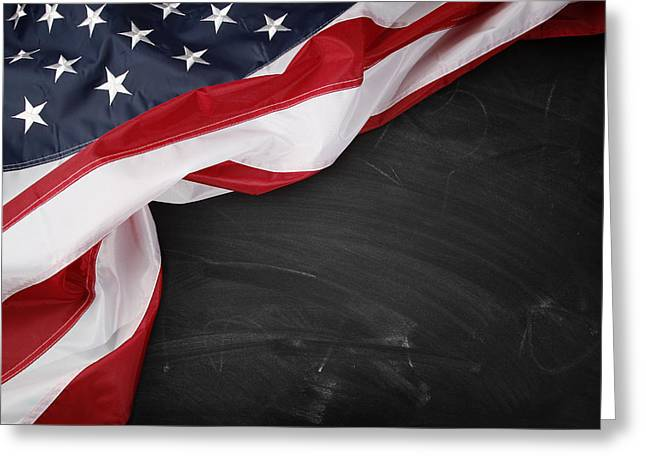 Flag on blackboard Greeting Card by Les Cunliffe