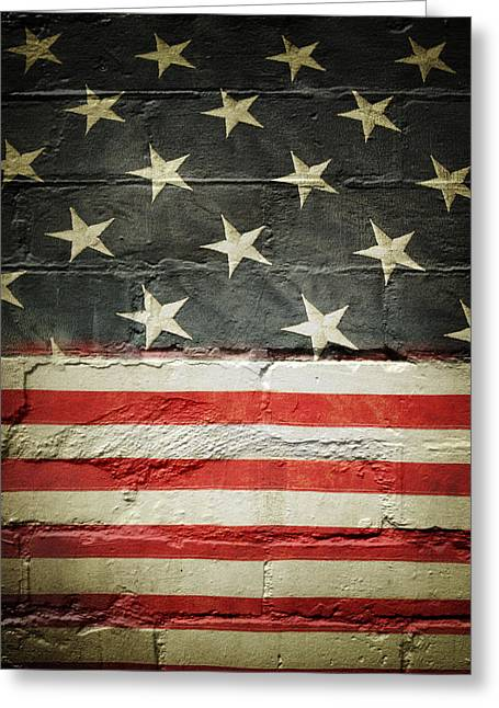 Wall Photos Greeting Cards - Flag on wall Greeting Card by Les Cunliffe
