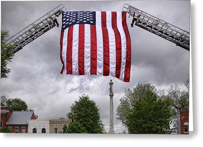 Franklin Tennessee Greeting Cards - Flag over Franklin Greeting Card by Pic