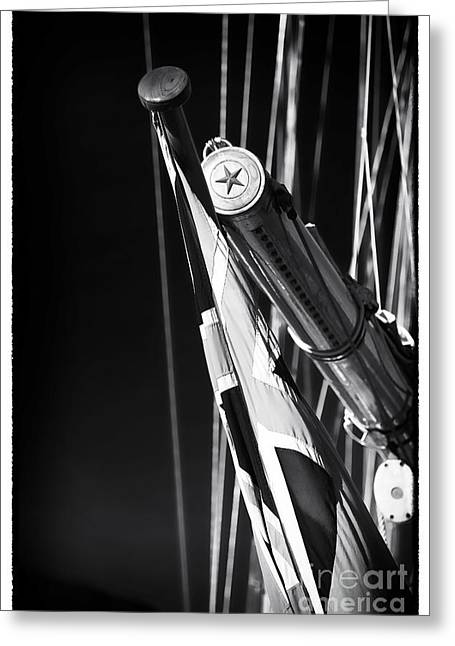 Sailboat Photos Greeting Cards - Flag Pole on the Yacht Greeting Card by John Rizzuto