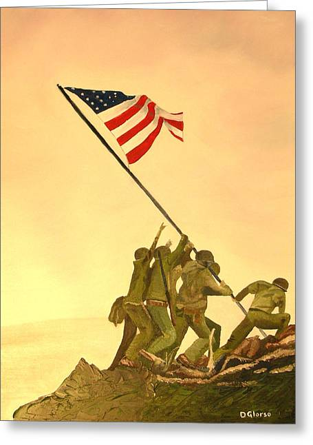 Told Greeting Cards - Flag Raising at Iwo Jima Greeting Card by Dean Glorso