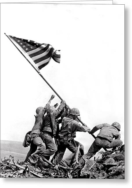 Flag Raising At Iwo Jima Greeting Card by Underwood Archives