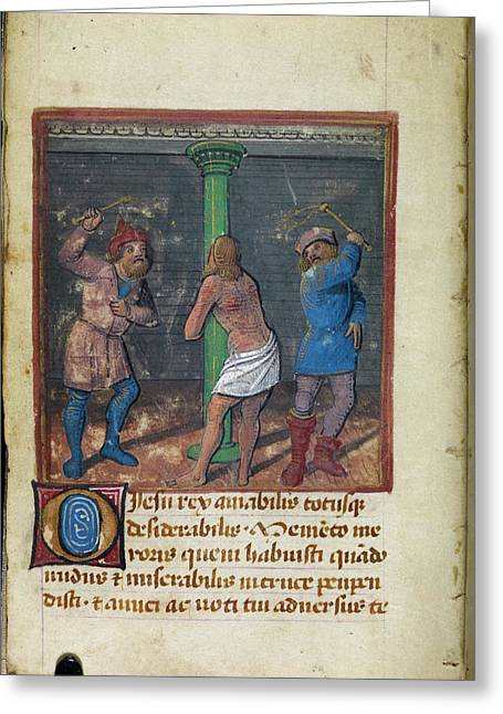 Flagellation Of Christ Greeting Card by British Library
