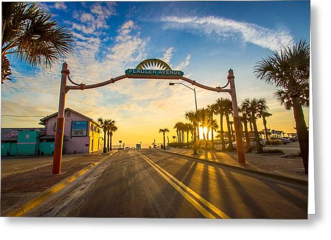 Flagler Avenue Beach Ramp At Sunrise Greeting Card by DM Photography- Dan Mongosa