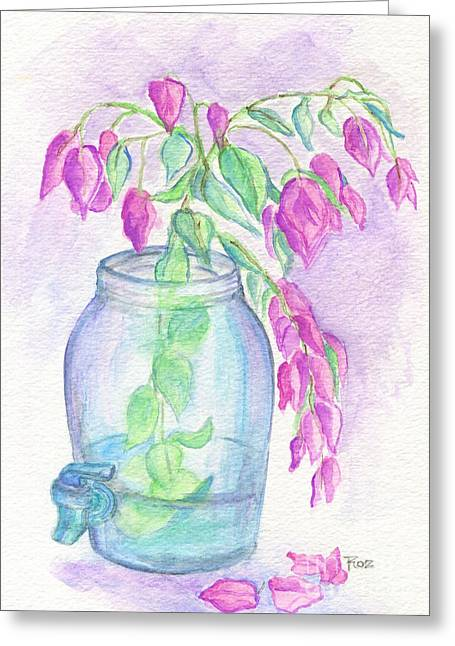 Water Jug Greeting Cards - Flagler Beach Bougainvillea Greeting Card by Roz Abellera Art