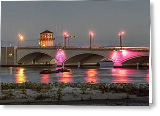 Flagler Greeting Cards - Flagler Bridge in Pink Greeting Card by Debra and Dave Vanderlaan