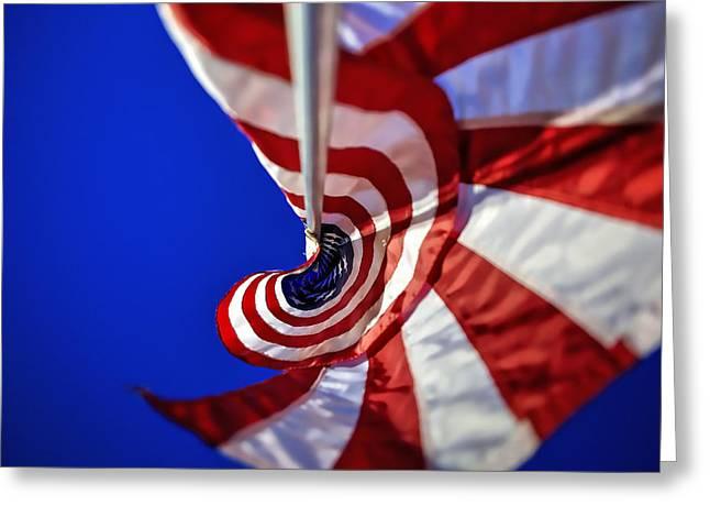 Swirls And Stripes Greeting Cards - Flagpole Swirl Greeting Card by Deborah Penland