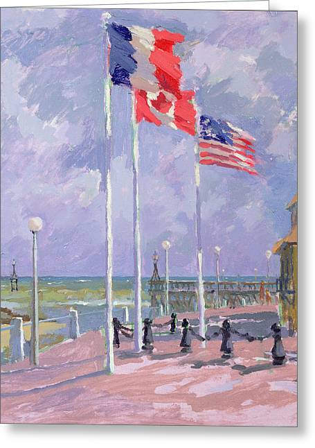 Landing Paintings Greeting Cards - Flags at Courseulles Normandy  Greeting Card by Sarah Butterfield