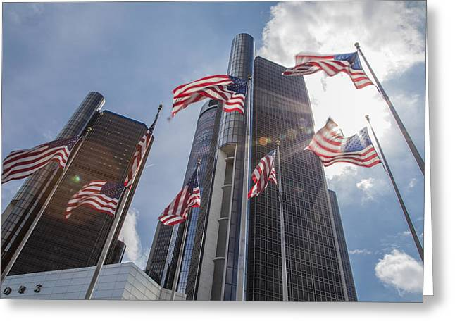 Renaissance Center Greeting Cards - Flags at Renaissance Center in Detroit  Greeting Card by John McGraw