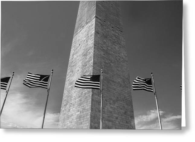 D.w. Greeting Cards - Flags at Washington Monument  Greeting Card by John McGraw