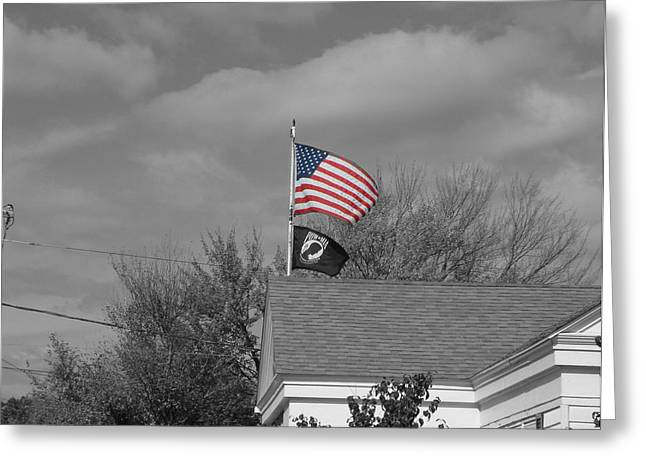 Auburn Ma Greeting Cards - Flags Auburn Post Office Greeting Card by Mike McCool