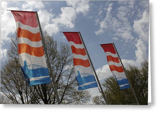 Flags Fluttering In The John Frost Bridge Greeting Card by Ronald Jansen