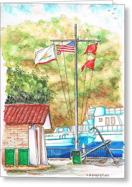 Ocre Greeting Cards - Flags in San Luis Port - Avila Beach - California Greeting Card by Carlos G Groppa