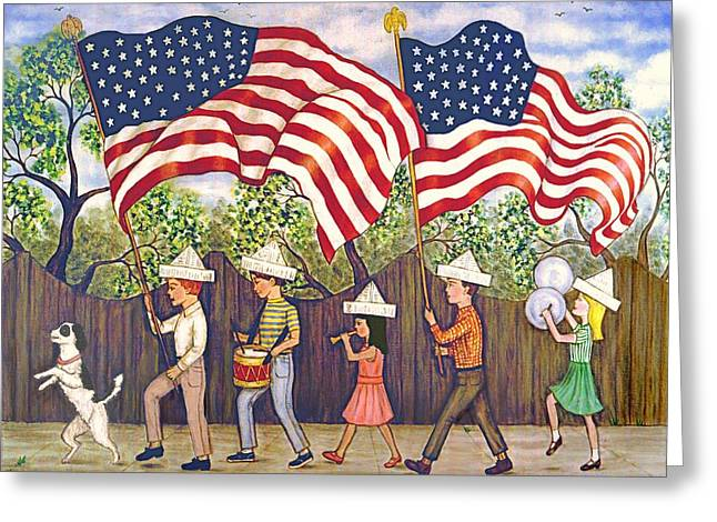 Folk Art Greeting Cards - Flags Greeting Card by Linda Mears