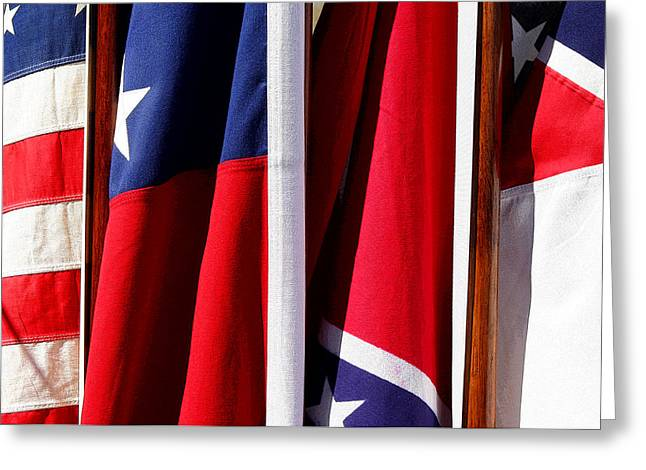 Confederate Flag Photographs Greeting Cards - Flags of the North and South Greeting Card by Joe Kozlowski