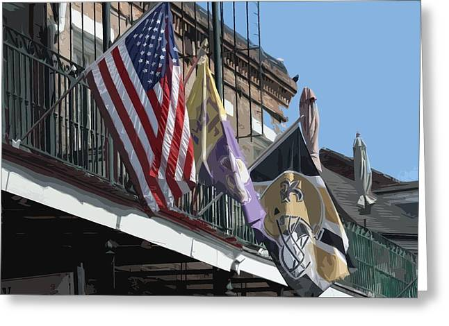 Flags On Bourbon Street Greeting Card by Donna G Smith