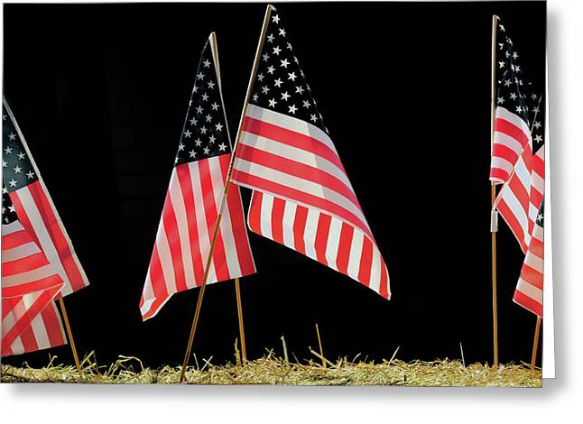 Flags On Float, July 4th Parade Greeting Card by Michel Hersen
