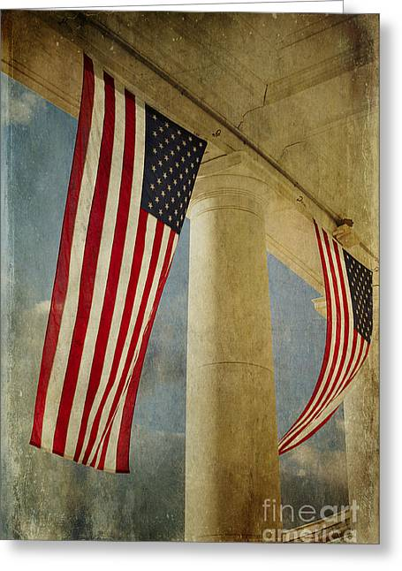 Flags Over Arlington Greeting Card by Terry Rowe
