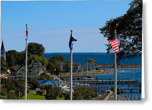 Slip Ins Greeting Cards - Flags over Mackinac 2 Greeting Card by Rachel Cohen
