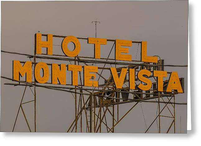 Monte Vista Greeting Cards - Flagstaff Neon Greeting Card by Steven Lapkin