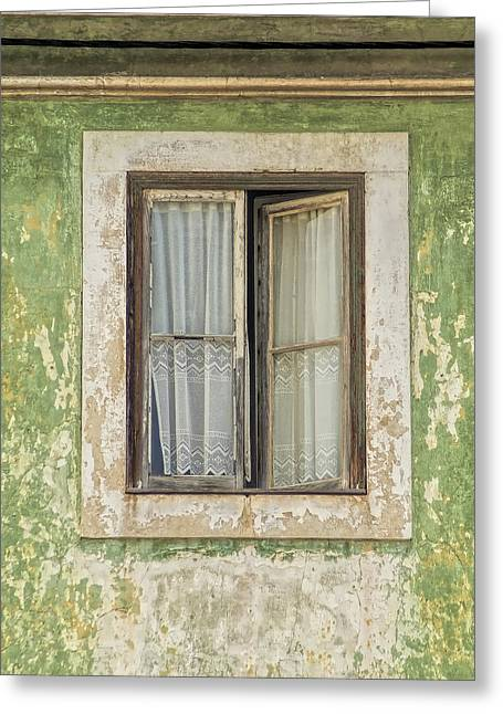 Lace Curtains Greeting Cards - Flaking Wood Window Greeting Card by David Letts