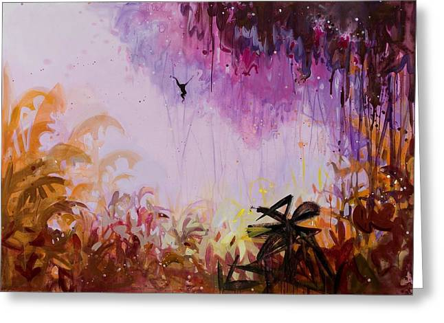 Nature Scene Paintings Greeting Cards - Flamboyant Jungle 2 Greeting Card by Susie Hamilton